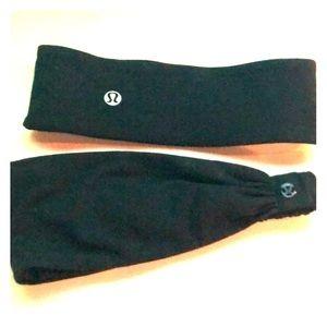 Set of two black Lululemon headbands